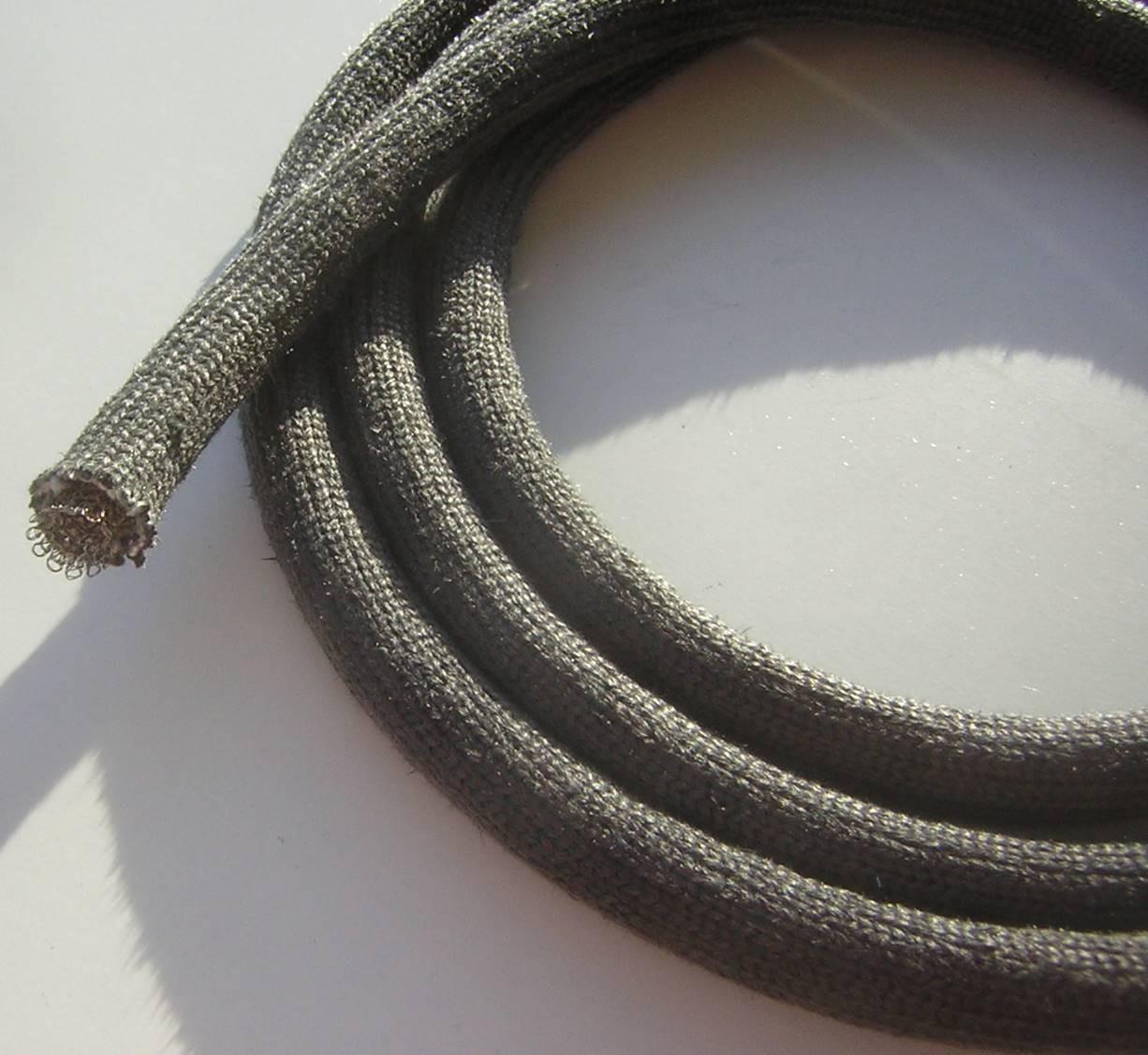 11mm Schlauchdichtung aus Silikatfasern, Drahtgeflecht innen, Hohldichtung Ofendichtung