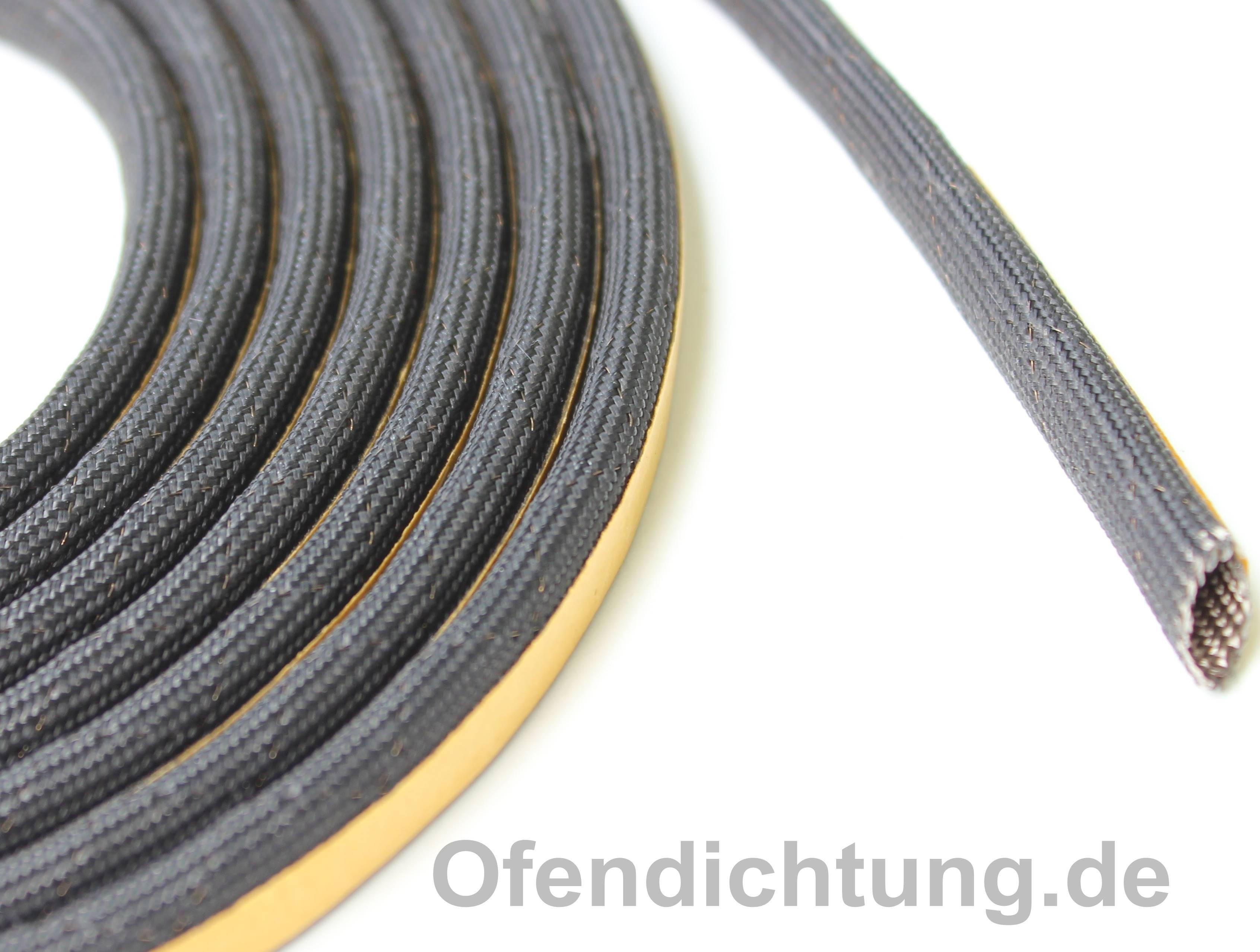 Kaminglas Schlauchdichtung schwarz Ø6mm mit Drahtverstärkung