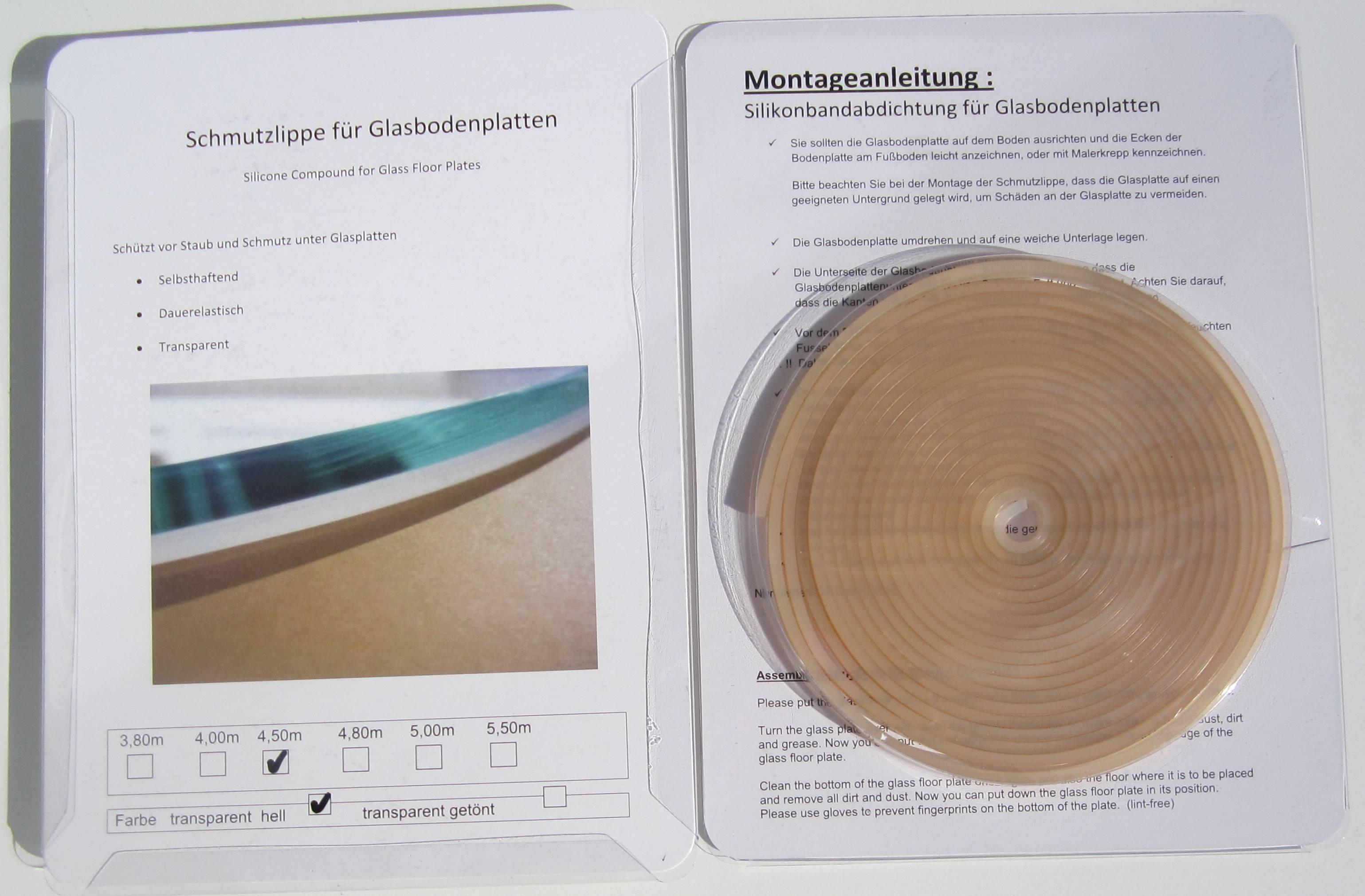 Relativ Dichtlippe für die Glasbodenplatte - Silikondichtlippe montieren KF92