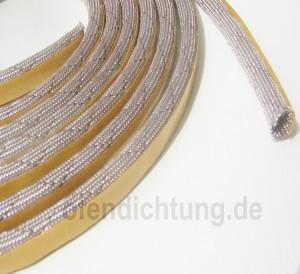 3m  Kaminglas Hohlkordel 6mm beige 650°C Schlauch mit Drahtverstärkung