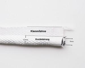 Fahnendichtung für Brunner Kamine Wulst 10mm , Kordel 8mm, Klemmfahne ca. 22mm