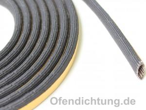 2m Kaminglasdichtung schwarz 650°C Schlauch mit Drahtverstärkung