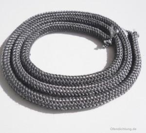 Gestrickte Ofendichtung weich grau 8mm - 1m - 550°C