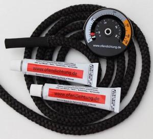Ofendichtung 12mm mit Verbindungshülse 2 Dichtschnurkleber feuerfest mit Ofenthermometer