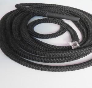 Ofendichtung geflochten mit Drahtfederkern 3m 12mm grau 650°C mit Verbindungshülse