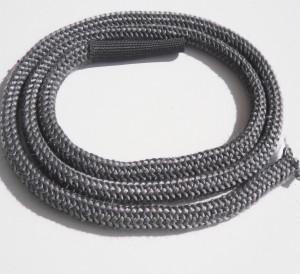 Gestrickte Ofendichtung weich grau 9mm - 2m - 450°C mit Verbindungshülse