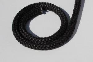 3224s  -  geflochtene Ofendichtung schwarz  8mm - 2m - 550°C mit Verbindungshülse